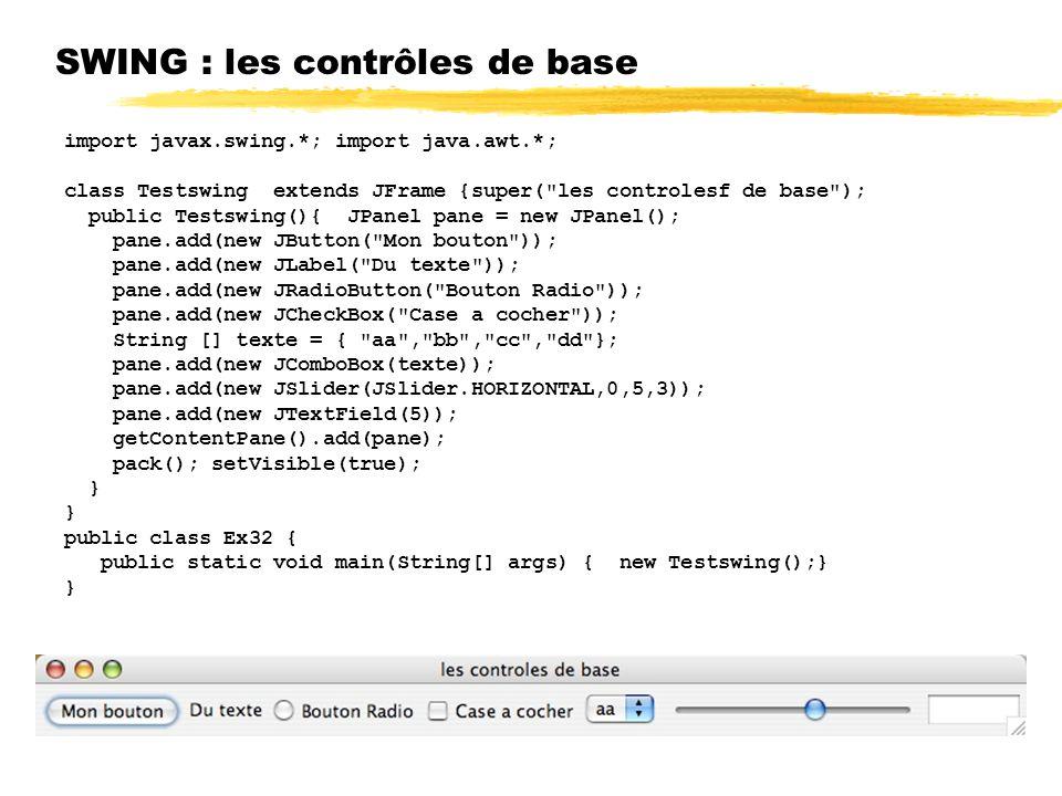 SWING : les contrôles de base