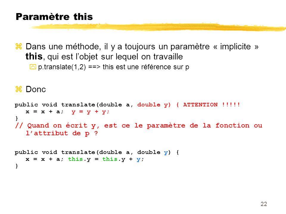 Paramètre this Dans une méthode, il y a toujours un paramètre « implicite » this, qui est l'objet sur lequel on travaille.