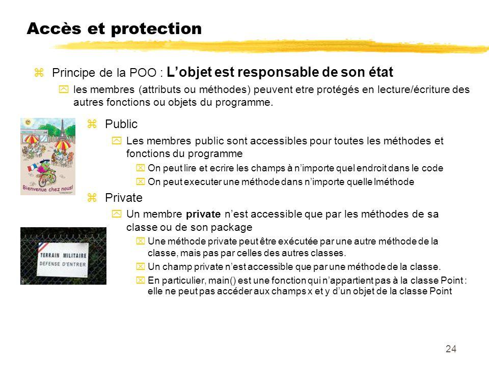 Accès et protection Principe de la POO : L'objet est responsable de son état.