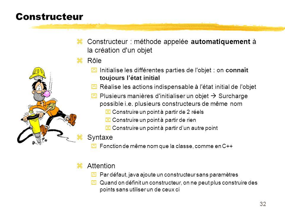 Constructeur Constructeur : méthode appelée automatiquement à la création d un objet. Rôle.