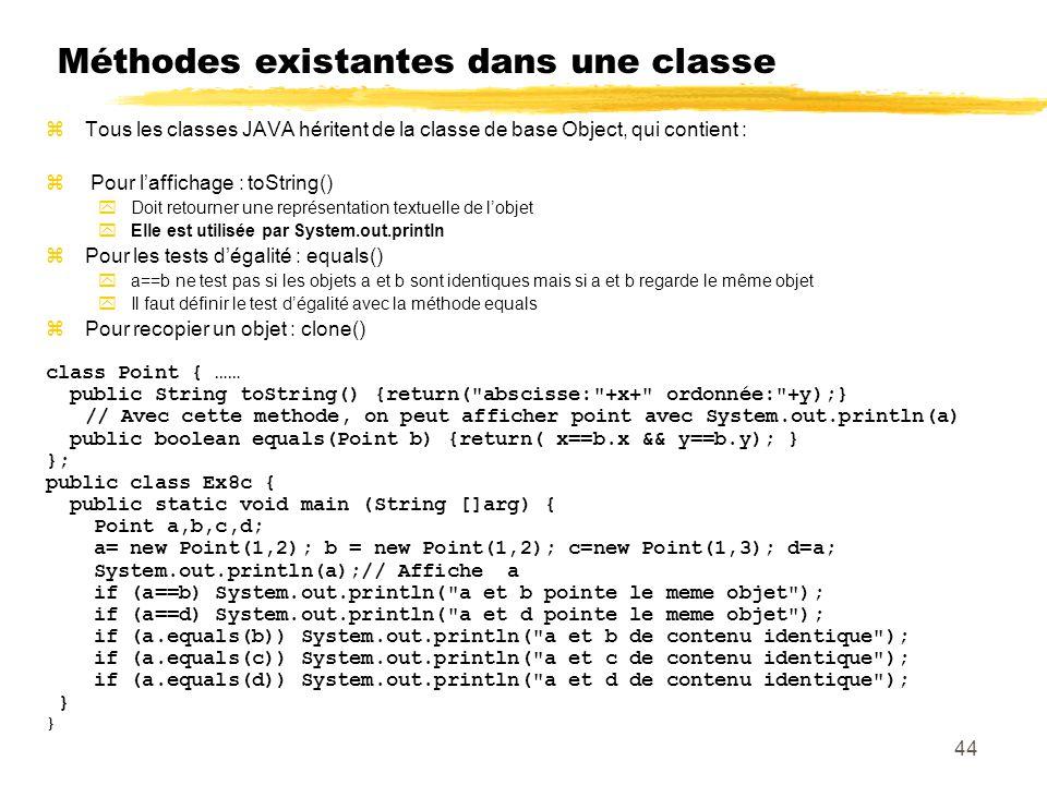 Méthodes existantes dans une classe
