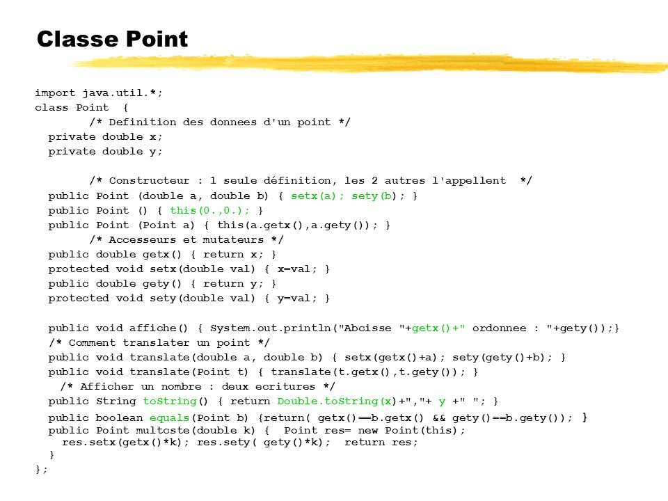 Classe Point import java.util.*; class Point {