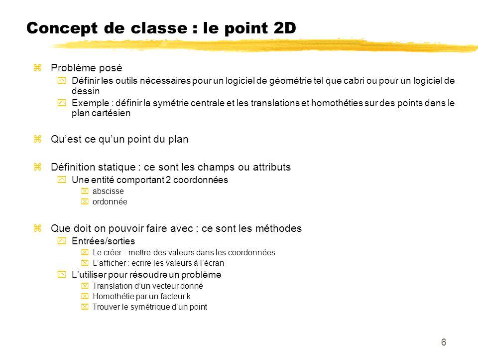 Concept de classe : le point 2D