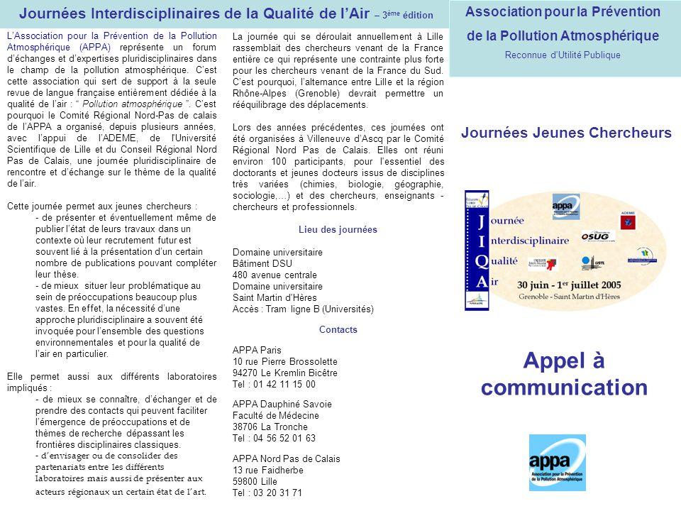 Journées Interdisciplinaires de la Qualité de l'Air – 3ème édition