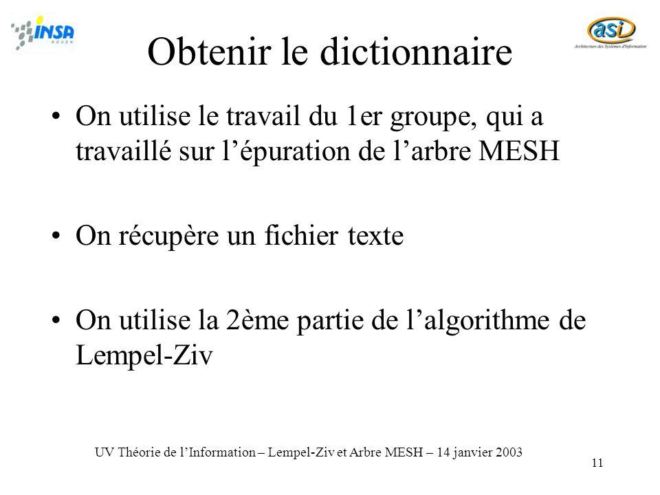 Obtenir le dictionnaire