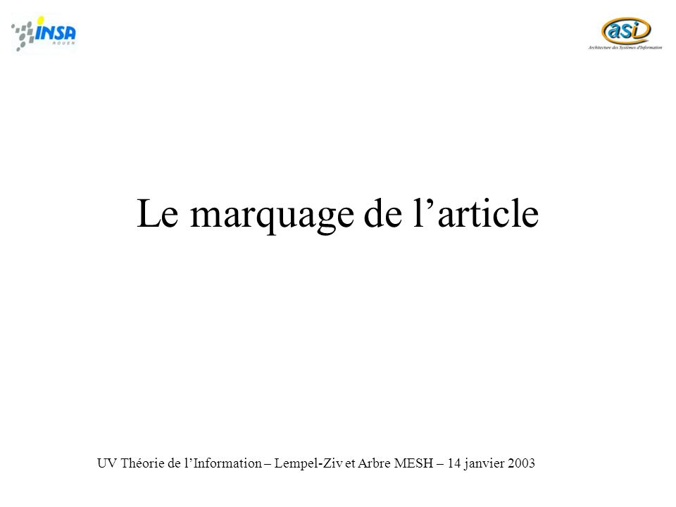 Le marquage de l'article