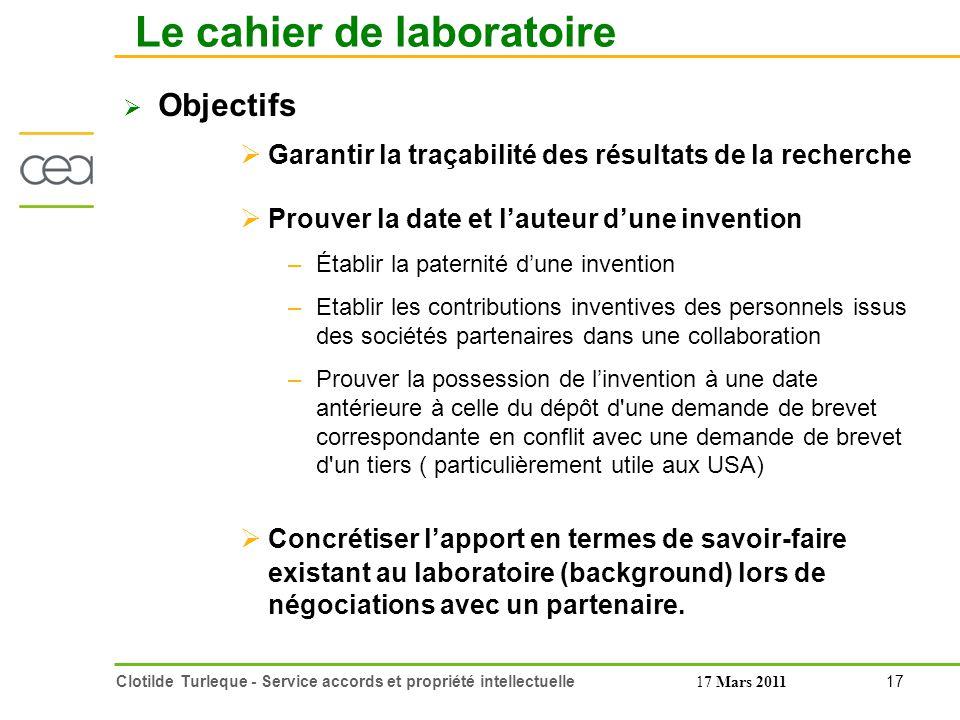 Le cahier de laboratoire