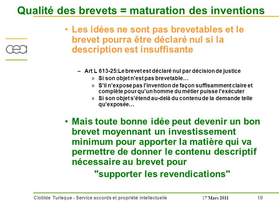 Qualité des brevets = maturation des inventions