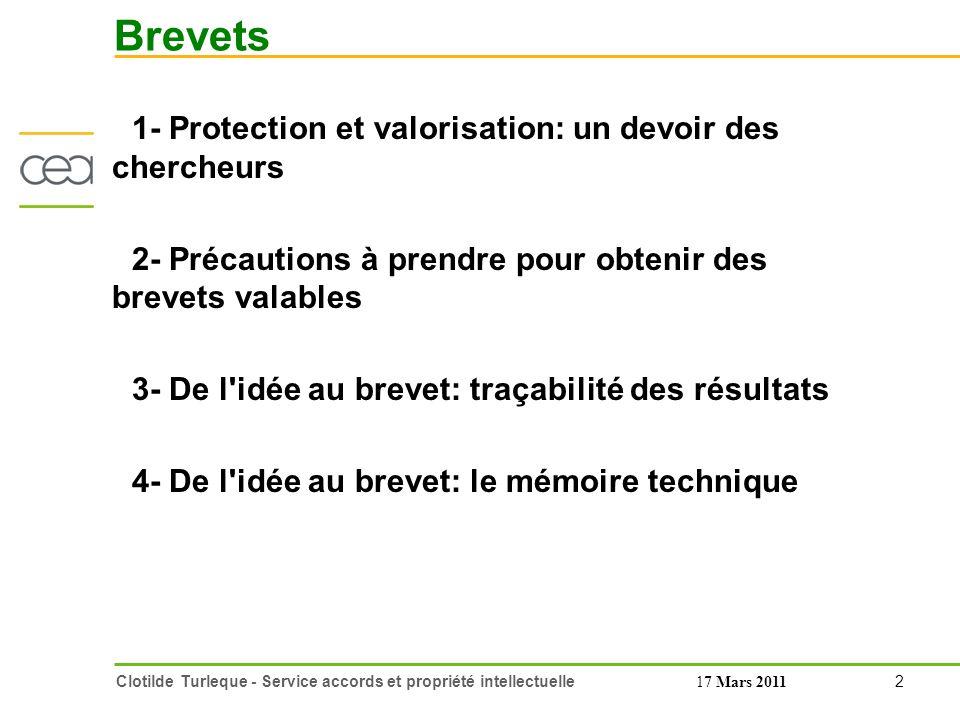 Brevets 1- Protection et valorisation: un devoir des chercheurs