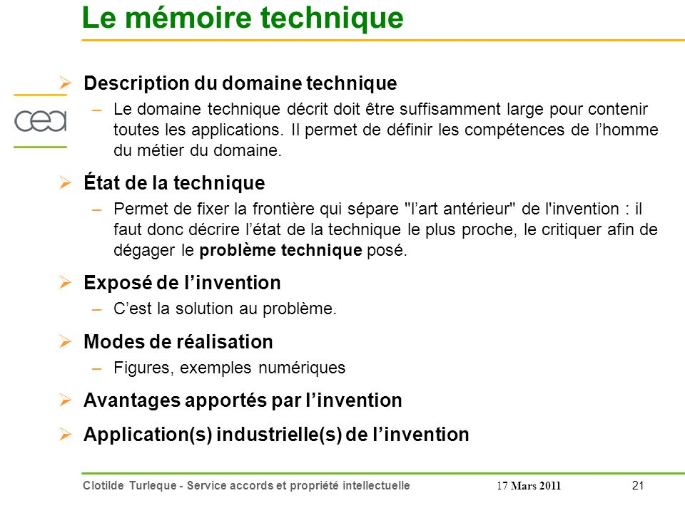Le mémoire technique Description du domaine technique