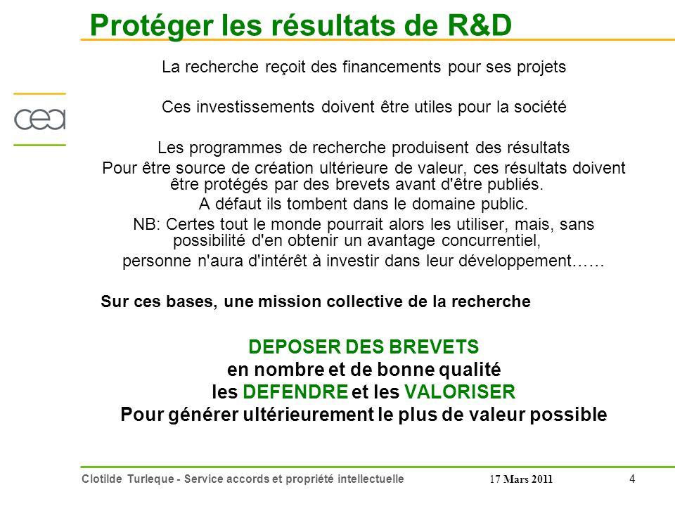 Protéger les résultats de R&D