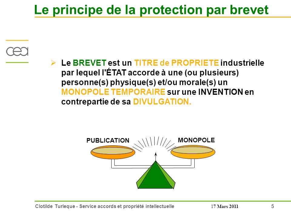 Le principe de la protection par brevet