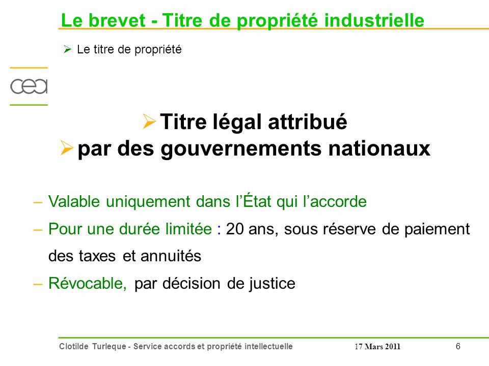 Le brevet - Titre de propriété industrielle