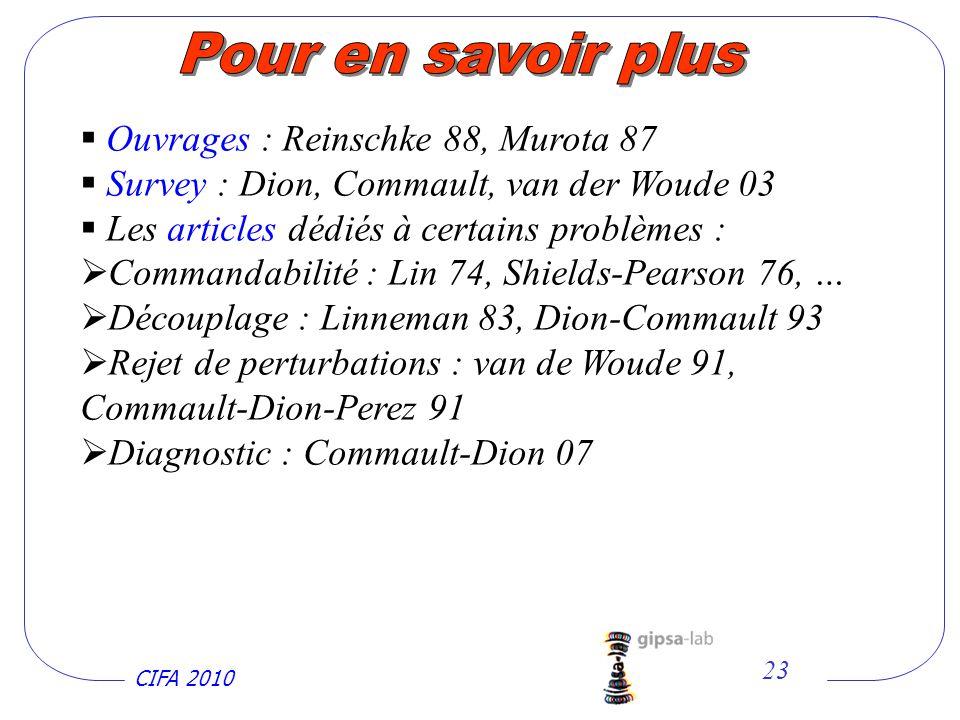 Pour en savoir plus Ouvrages : Reinschke 88, Murota 87
