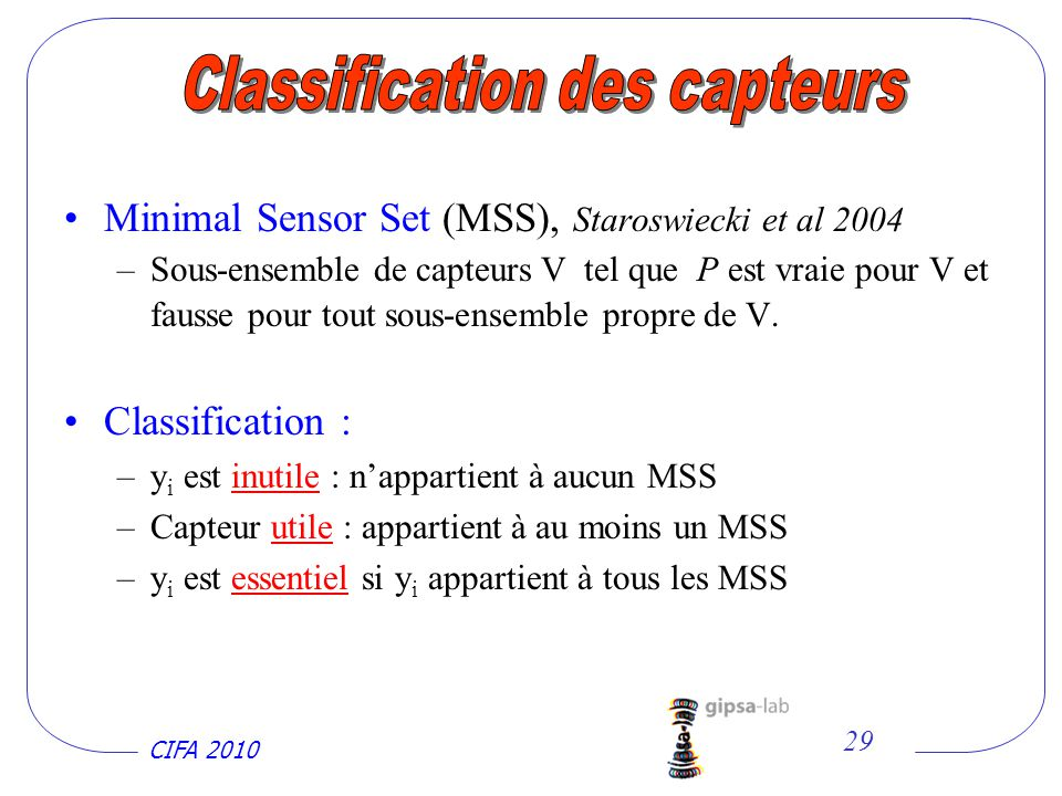 Classification des capteurs