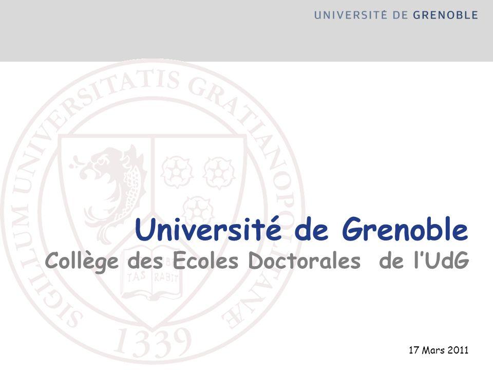Université de Grenoble Collège des Ecoles Doctorales de l'UdG