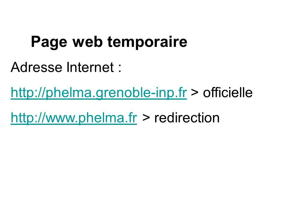 Page web temporaire Adresse Internet :
