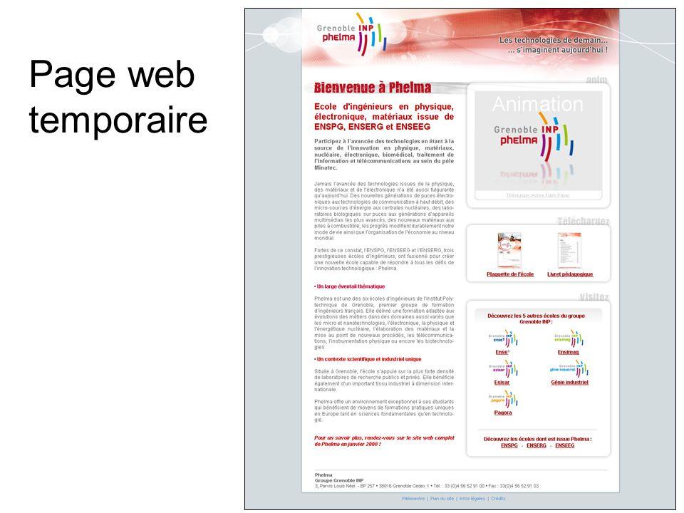Page web temporaire