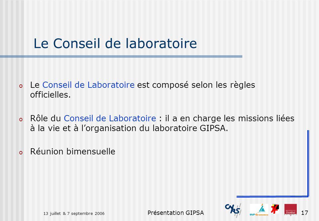 Le Conseil de laboratoire