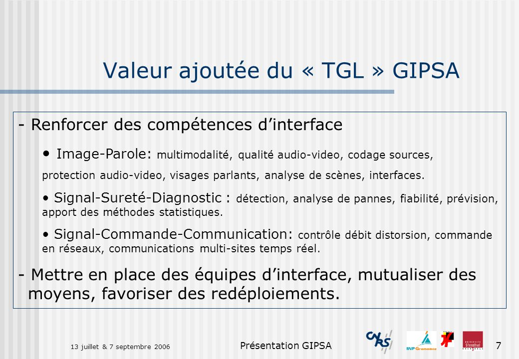 Valeur ajoutée du « TGL » GIPSA