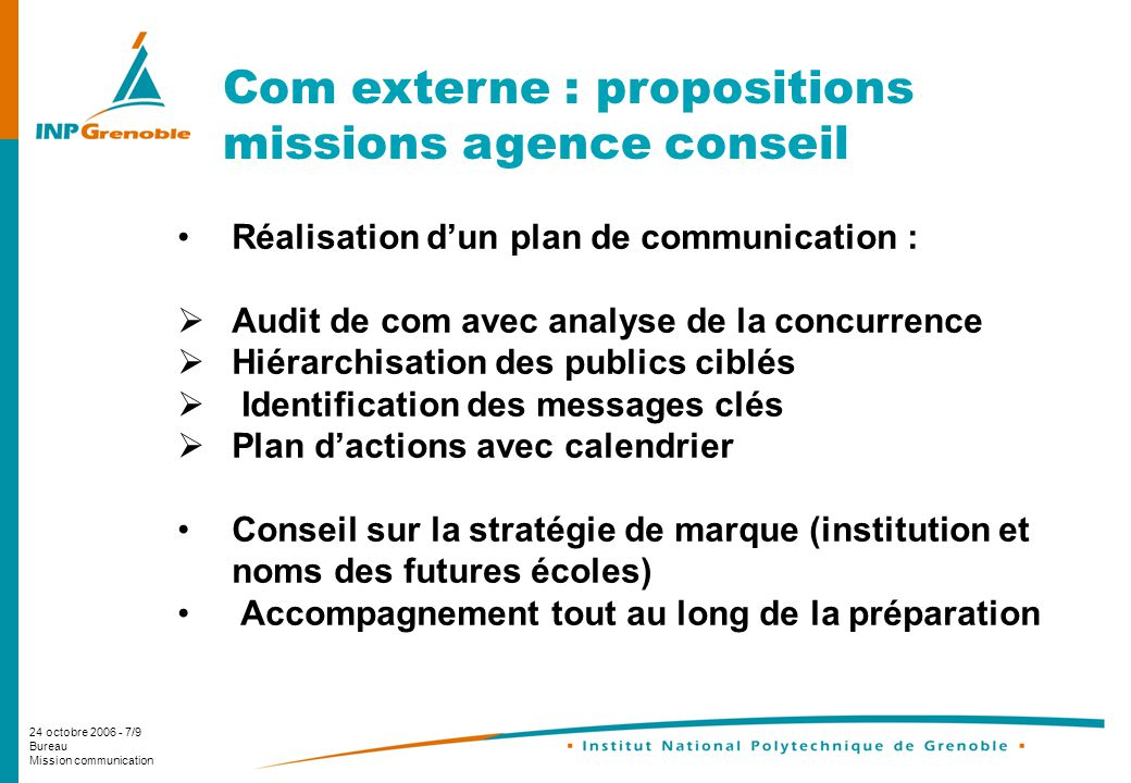 Com externe : propositions missions agence conseil