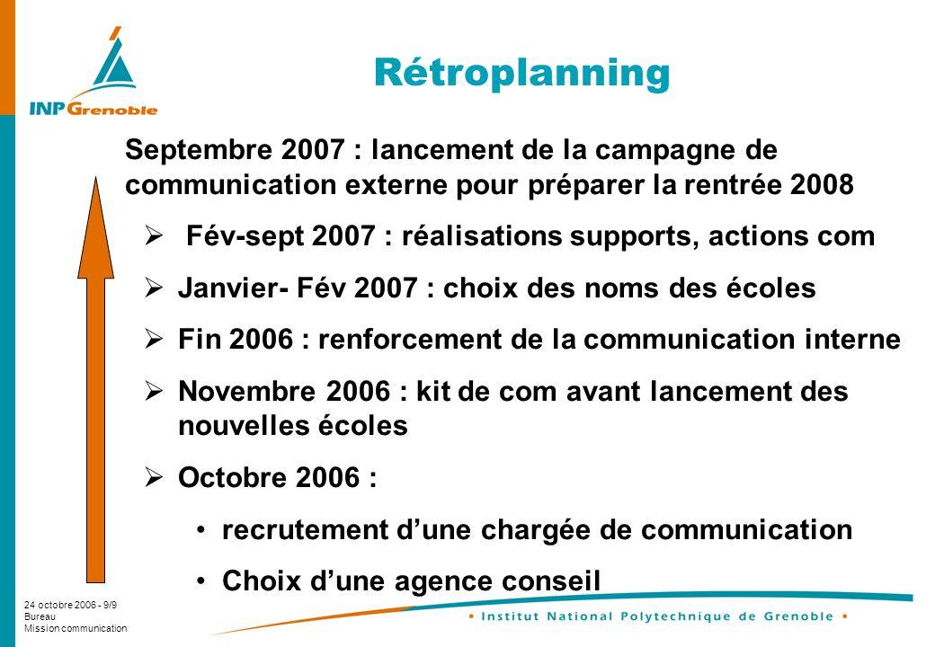 Rétroplanning Septembre 2007 : lancement de la campagne de communication externe pour préparer la rentrée 2008.