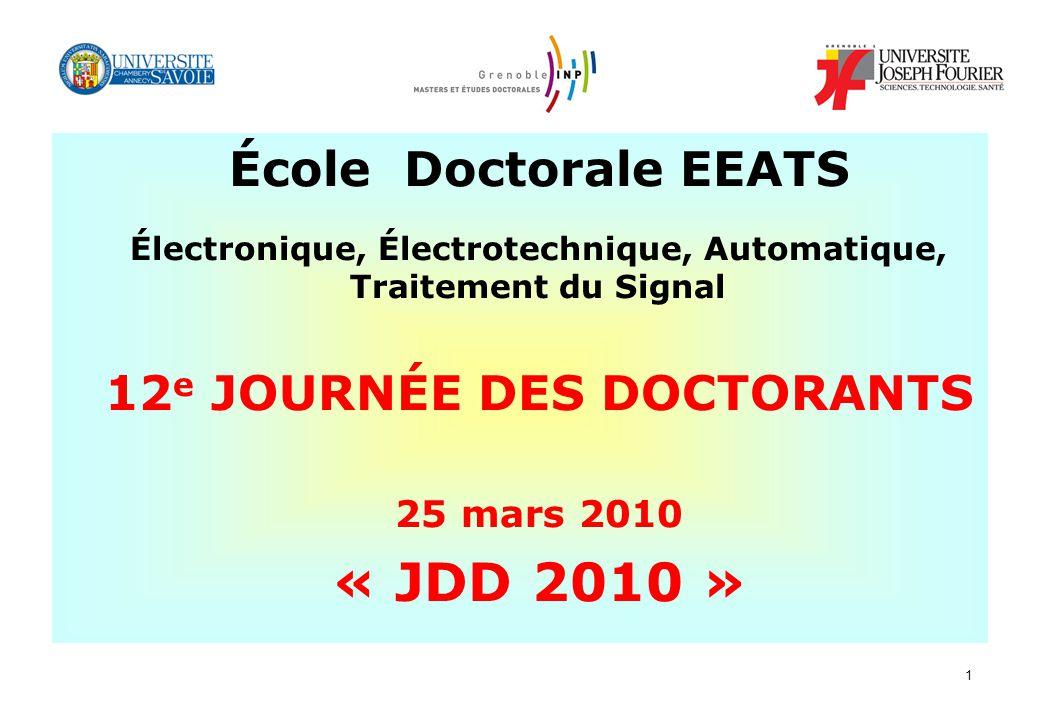 « JDD 2010 » École Doctorale EEATS 12e JOURNÉE DES DOCTORANTS