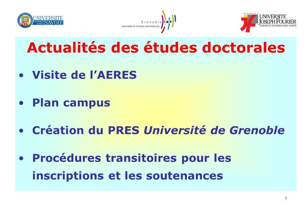 Actualités des études doctorales