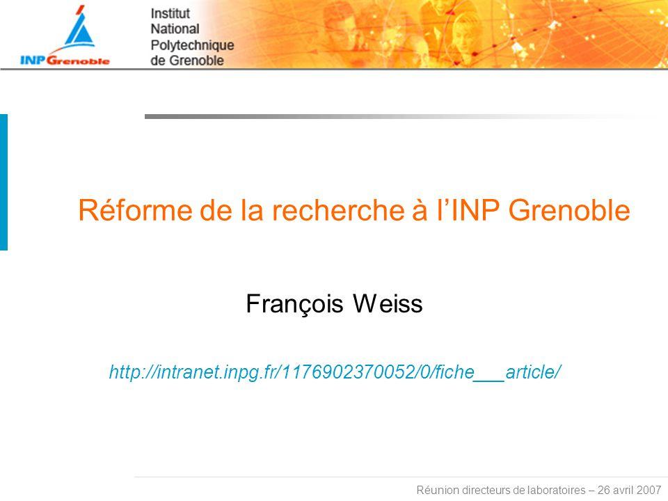 Réforme de la recherche à l'INP Grenoble