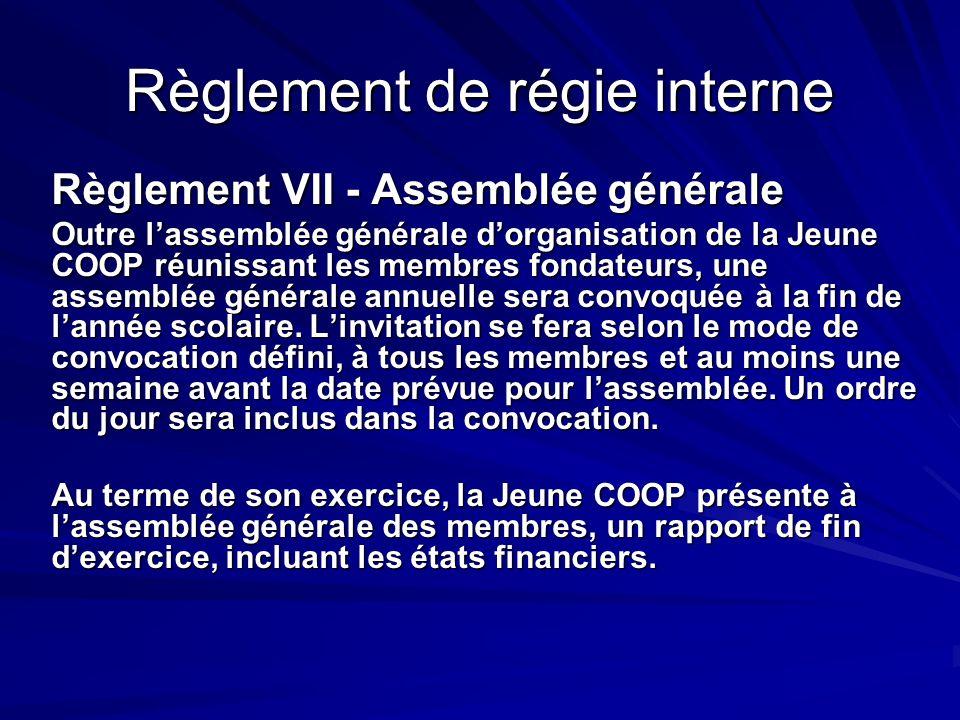 Règlement de régie interne