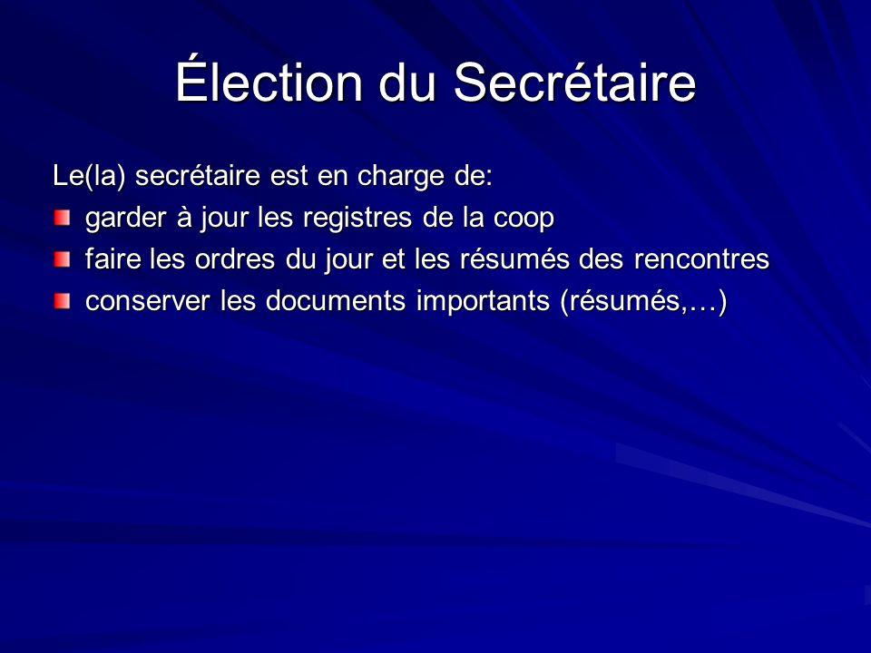 Élection du Secrétaire