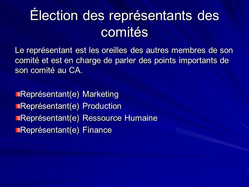 Élection des représentants des comités