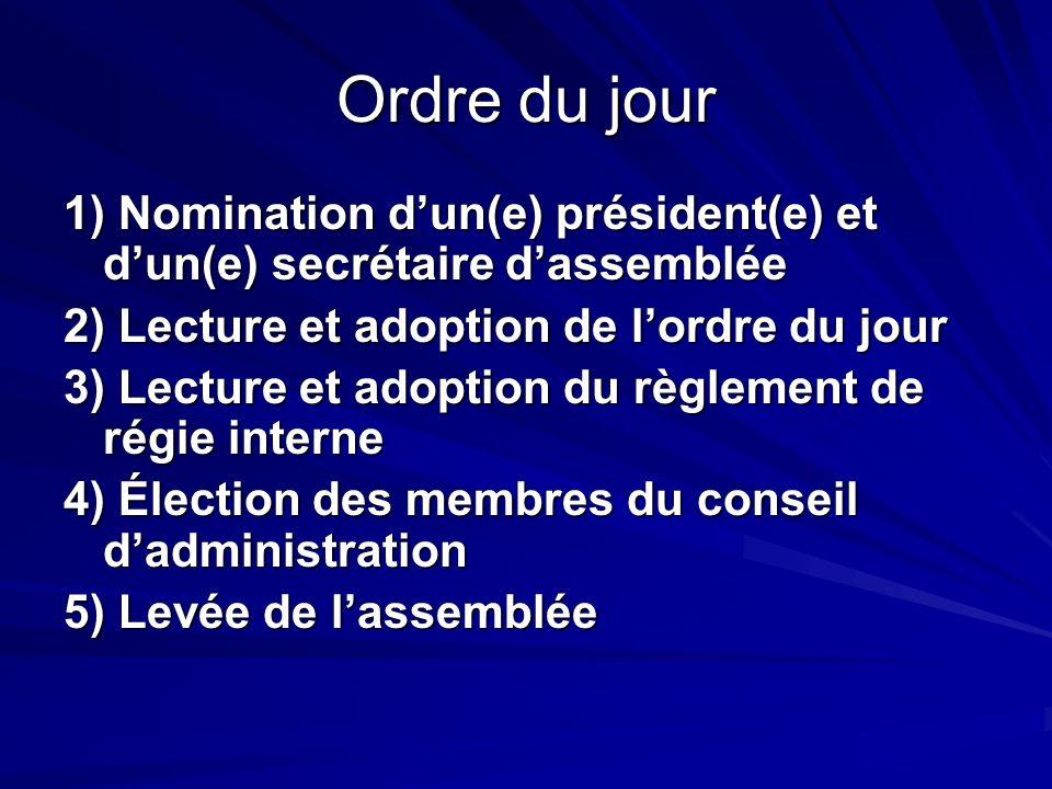 Ordre du jour 1) Nomination d'un(e) président(e) et d'un(e) secrétaire d'assemblée. 2) Lecture et adoption de l'ordre du jour.