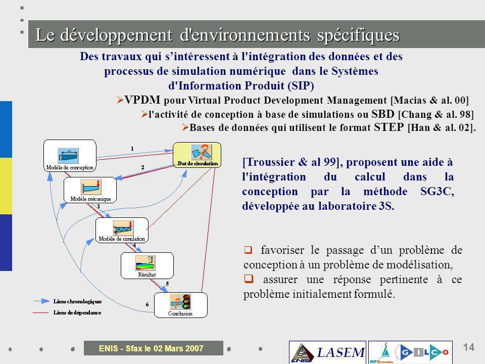 Le développement d environnements spécifiques