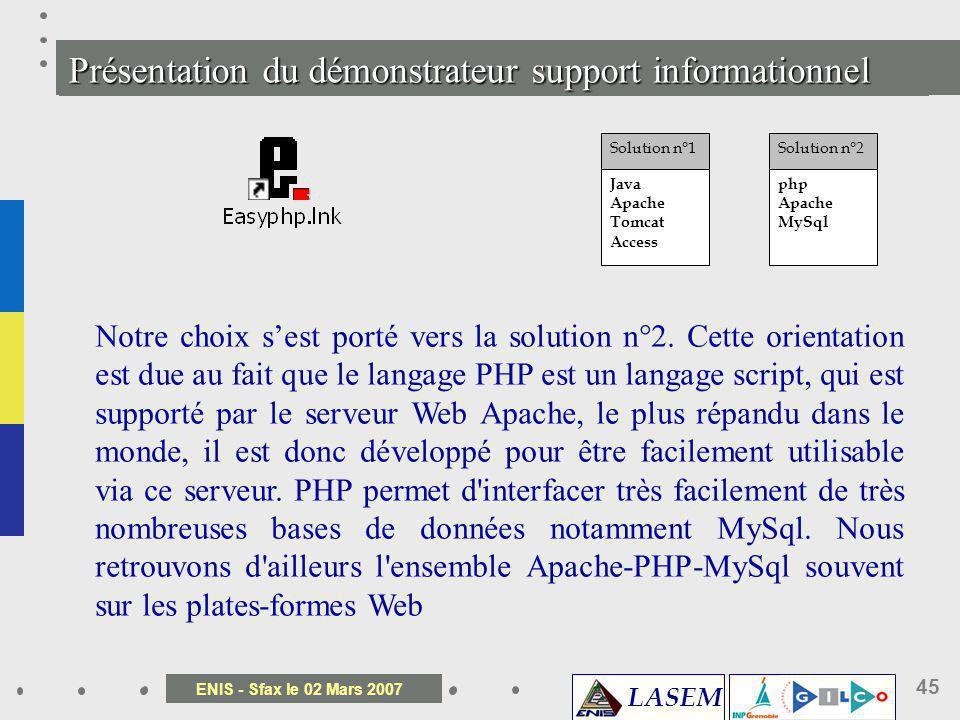 Présentation du démonstrateur support informationnel