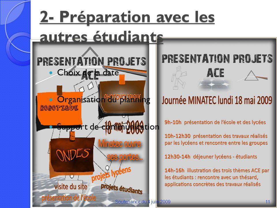 2- Préparation avec les autres étudiants