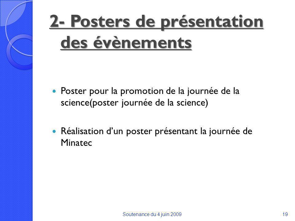 2- Posters de présentation des évènements