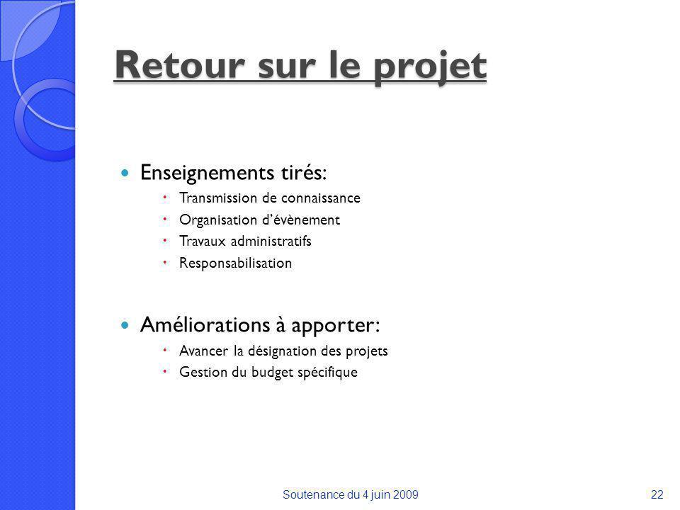 Retour sur le projet Enseignements tirés: Améliorations à apporter: