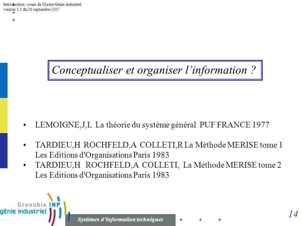 Conceptualiser et organiser l'information