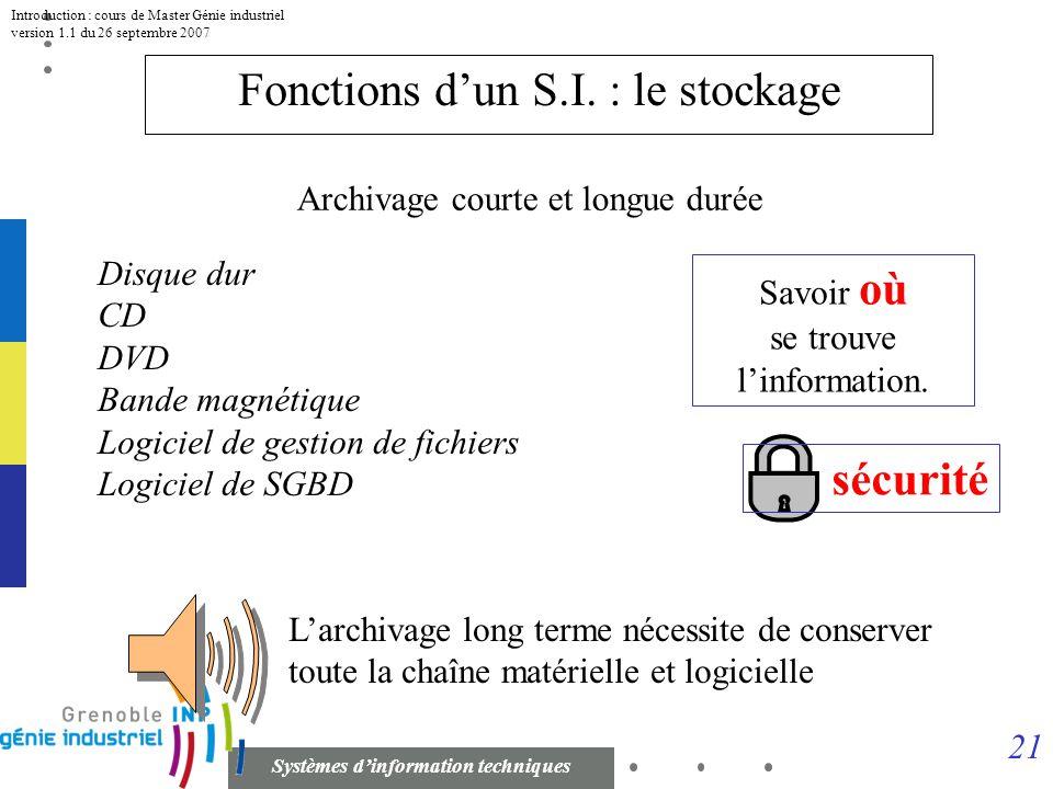 Fonctions d'un S.I. : le stockage