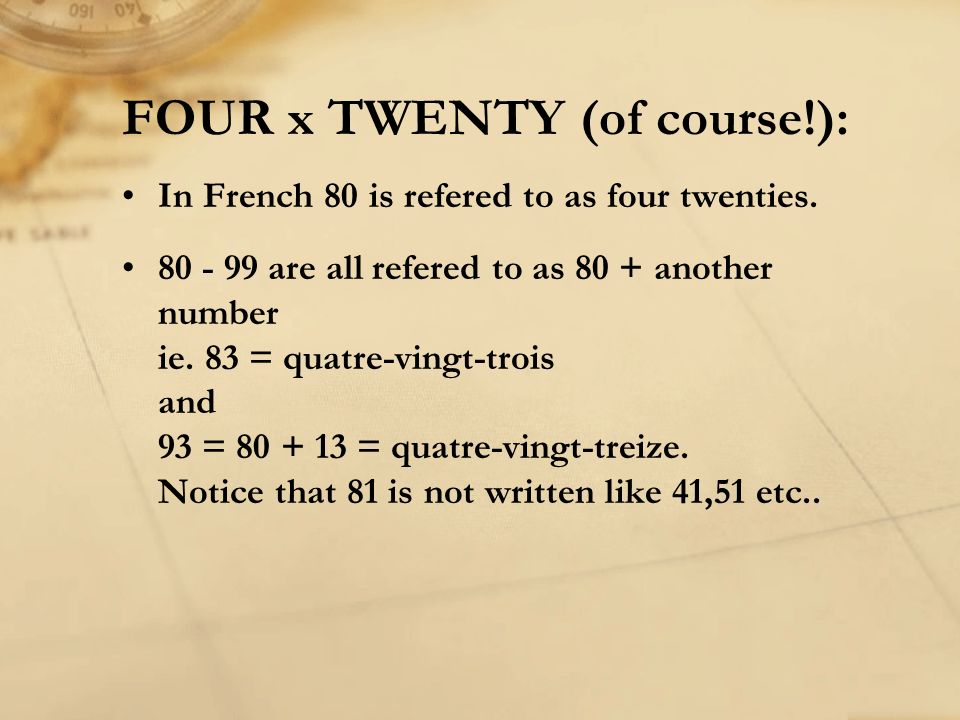 FOUR x TWENTY (of course!):