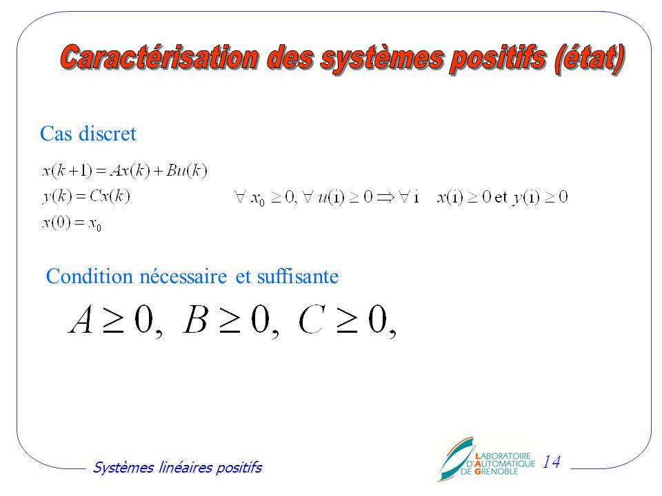 Caractérisation des systèmes positifs (état)