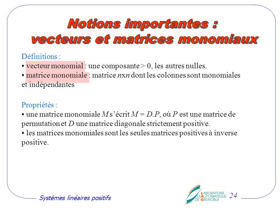 vecteurs et matrices monomiaux