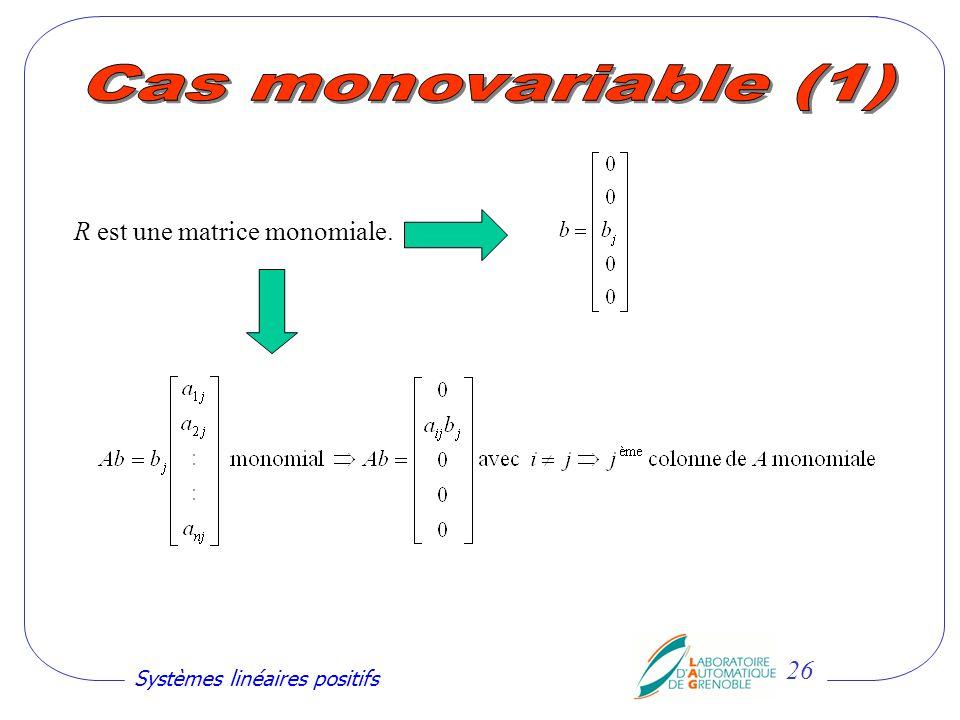 Cas monovariable (1) R est une matrice monomiale.