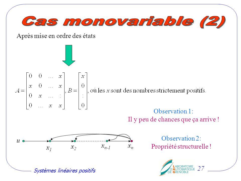 Cas monovariable (2) Après mise en ordre des états Observation 1: