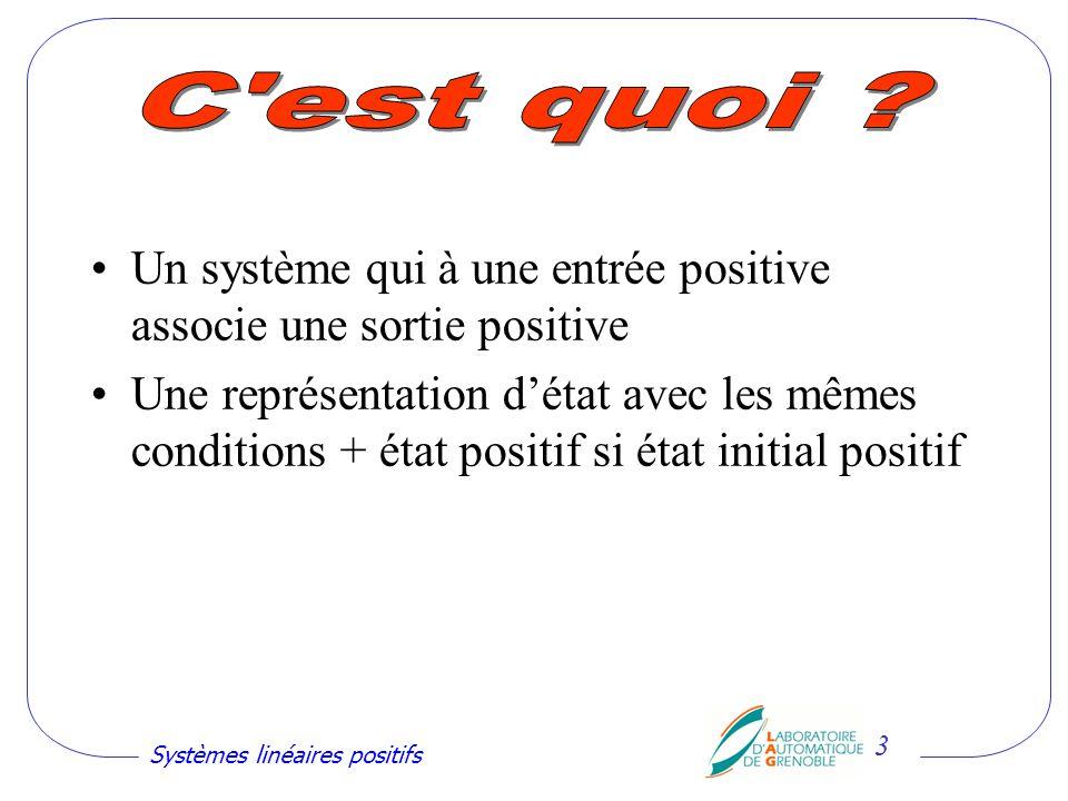 C est quoi Un système qui à une entrée positive associe une sortie positive.