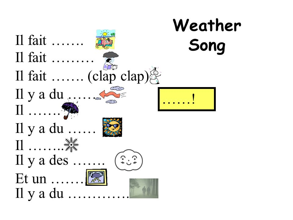 Weather Song Il fait ……. Il fait ……… Il fait ……. (clap clap)