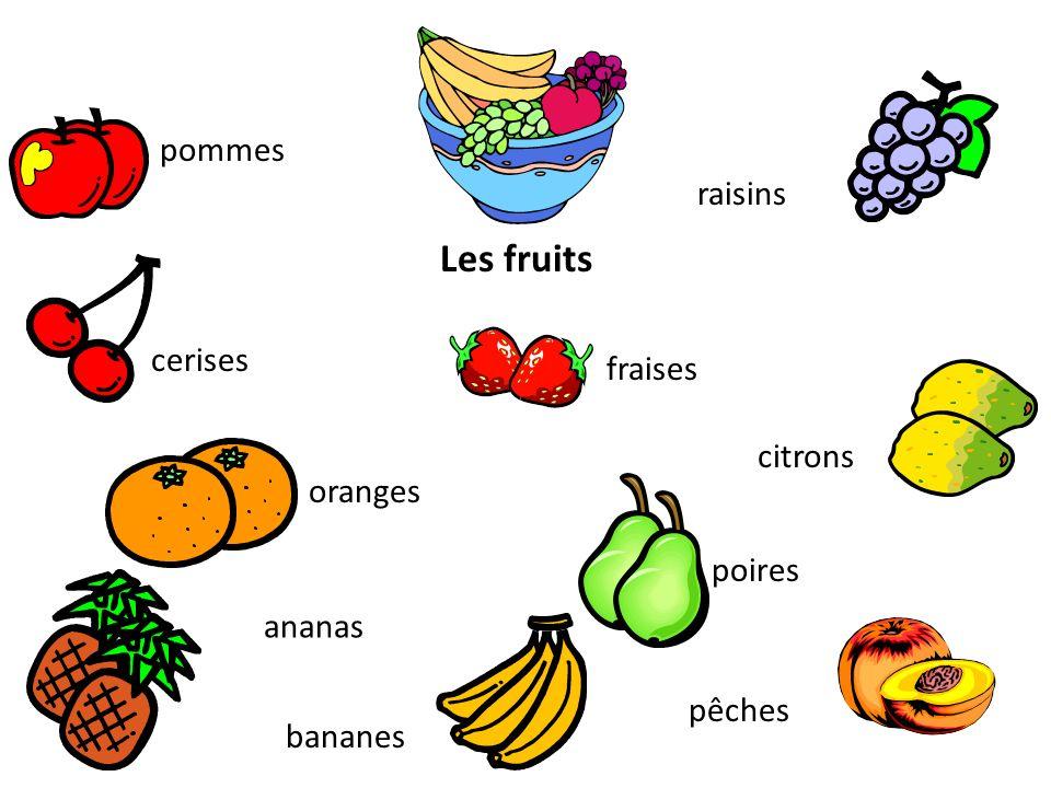 Les fruits pommes raisins cerises fraises citrons oranges poires