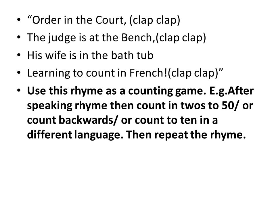 Order in the Court, (clap clap)