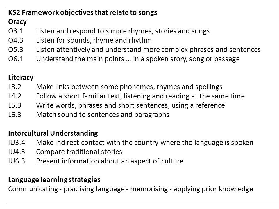 KS2 Framework objectives that relate to songs